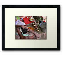 Early morning ablutions on the banks of the Hooghly... Framed Print