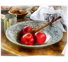Apples in a Silver Bowl Poster