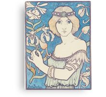 Vintage woman with flower Canvas Print
