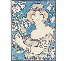 Vintage woman with flower Photographic Print