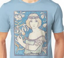 Vintage woman with flower Unisex T-Shirt