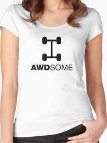 AWDsome, Awesome All Wheel Drive Women's Fitted Scoop T-Shirt