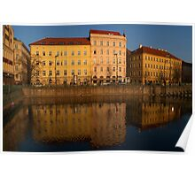 Buildings beside the Vltava River, Prague Poster
