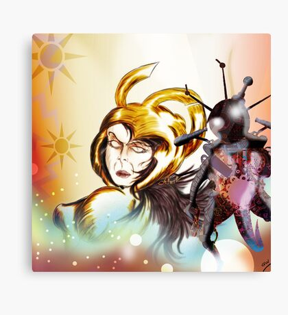 Gold Warrior Sci-Fi Drawing Canvas Print