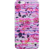 Pink gray vintage flowers chevron pattern  iPhone Case/Skin