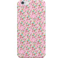 Trendy retro pink teal abstract floral pattern  iPhone Case/Skin