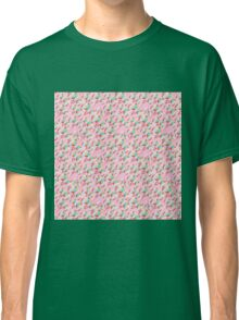 Trendy retro pink teal abstract floral pattern  Classic T-Shirt