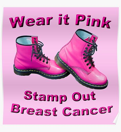 Wear It Pink Stamp Out Breast Cancer Poster