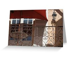 Red Parasol on a Balcony Greeting Card