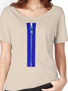 Blue zip Women's Relaxed Fit T-Shirt