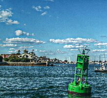 Green Buoy in Newport Harbor - Old Postcard Texture Effect by Jane Neill-Hancock