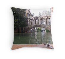 St John's College Bridge from a Punt Throw Pillow