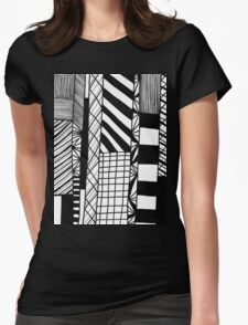 Black and White Free Hand Sketch Line  Womens Fitted T-Shirt