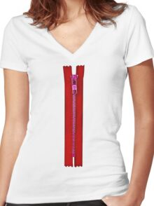 Red zip Women's Fitted V-Neck T-Shirt