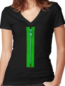 Green zip Women's Fitted V-Neck T-Shirt