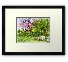 Daffodils by Bench Framed Print