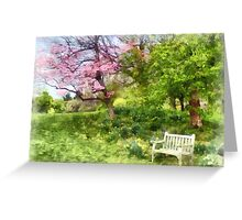 Daffodils by Bench Greeting Card