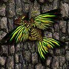 yellow gold dracopheonix on bark by Aurora