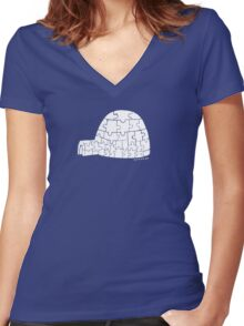 Puzzle Igloo Women's Fitted V-Neck T-Shirt