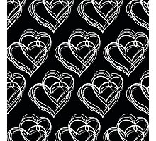 Black and White Vintage Heart Pattern Photographic Print
