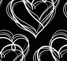 Black and White Vintage Heart Pattern Sticker