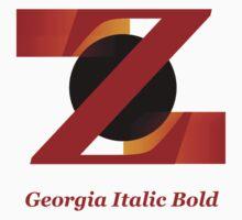 Georgia Italic Bold Font Iconic Chractography - Z Kids Tee