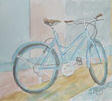 Blue Bike on Grid by Jeanne Allgood
