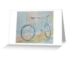Blue Bike on Grid Greeting Card