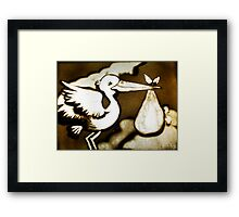 The Stork and his gift Framed Print