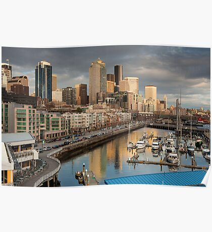 Downtown Seattle and Bell Harbor Marina Poster