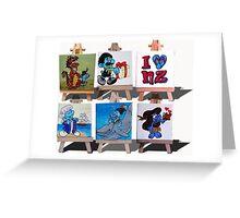 Kiwiana Smurfs  - I love New Zealand Greeting Card