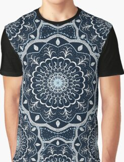 Black White Blue Mandala Graphic T-Shirt