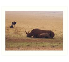 White Rhino with Mother and Wildebeest Art Print