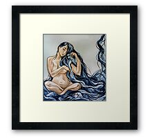 Blue Rain Carnation Framed Print