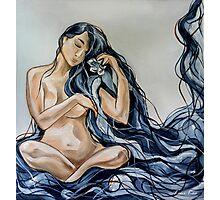 Blue Rain Carnation Photographic Print
