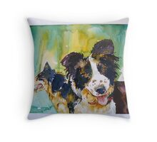 Two Good Cowdogs Throw Pillow