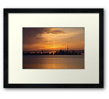 First Sun Rays - Toronto Skyline at Sunrise Framed Print