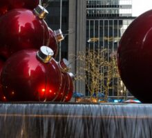 A Christmas Card from New York City - Manhattan Skyline Reflecting in Giant Red Balls Sticker