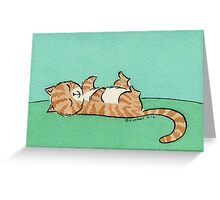 Brown and White Cat Sleeping on Back Greeting Card