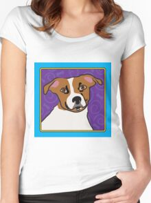 Jack Russell Cartoon Women's Fitted Scoop T-Shirt