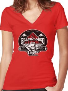 Black Lodge Coffee Company (clean) Women's Fitted V-Neck T-Shirt