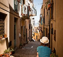 small sicilian street with sitting girl by wulfman65