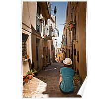small sicilian street with sitting girl Poster