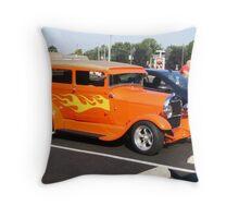 orange car Throw Pillow