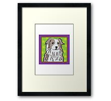 Australian Shepherd Cartoon Framed Print