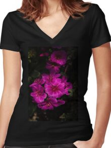 A Vivid Succulent Bouquet in Bold Pink and Fuchsia Women's Fitted V-Neck T-Shirt