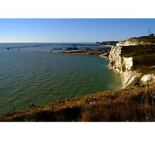 Dover Docks and the Famous White Cliffs  Photographic Print