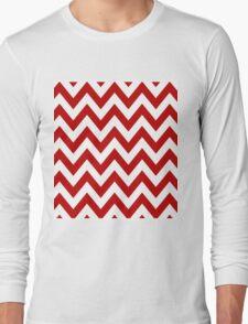 Red Chevron Pattern Long Sleeve T-Shirt