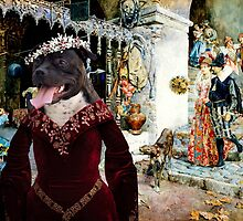 Staffordshire Bull Terrier Art - Elegant company in a tavern by NobilityDogs