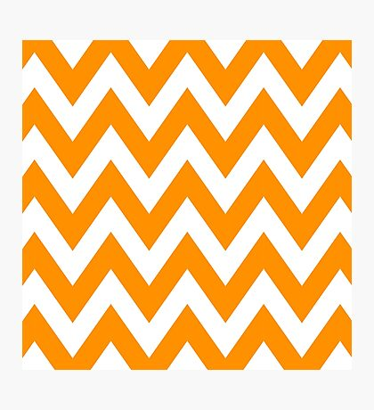 Half Orange and White Chevron Pattern with Blue Color Photographic Print